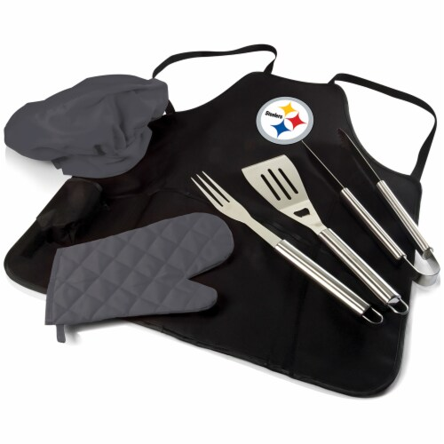 Pittsburgh Steelers BBQ Apron Tote Pro Set with Tools Perspective: front