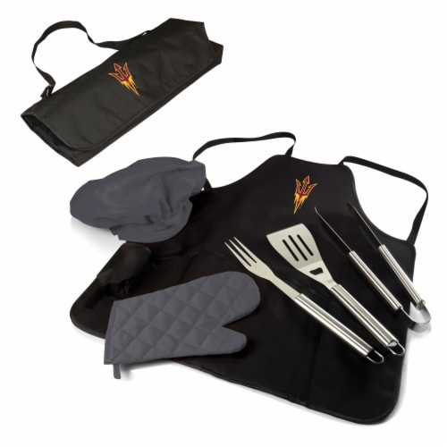 Arizona State Sun Devils BBQ Apron Tote Pro Set with Tools Perspective: front