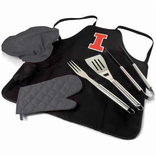 Illinois Fighting Illini - BBQ Apron Tote Pro Grill Set Perspective: front