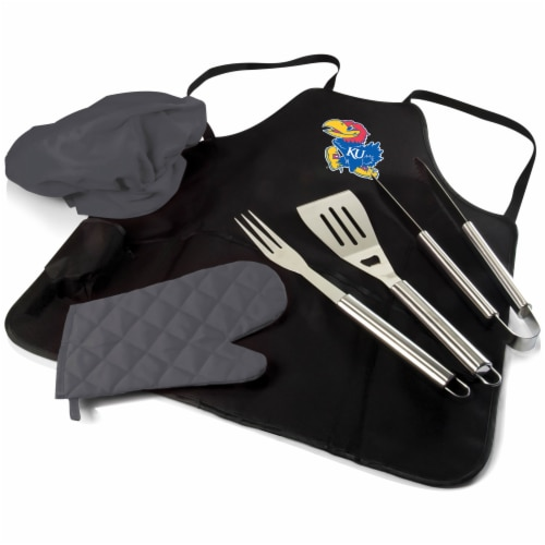 Kansas Jayhawks - BBQ Apron Tote Pro Grill Set Perspective: front