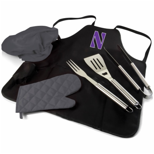 Northwestern Wildcats - BBQ Apron Tote Pro Grill Set Perspective: front