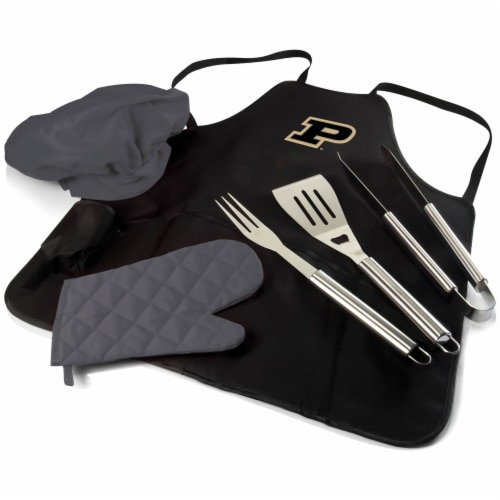 Purdue Boilermakers - BBQ Apron Tote Pro Grill Set Perspective: front