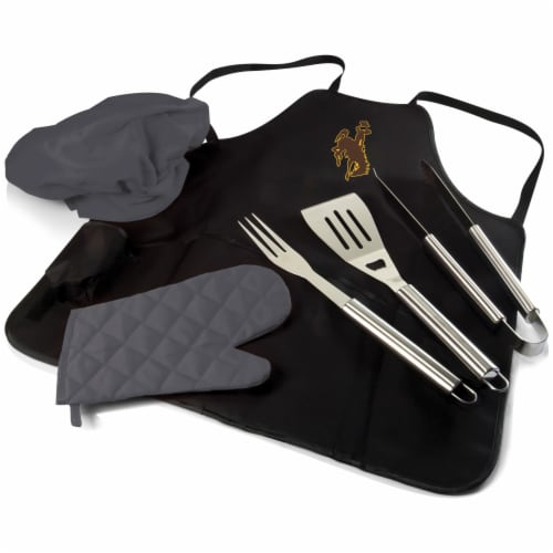 Wyoming Cowboys - BBQ Apron Tote Pro Grill Set Perspective: front