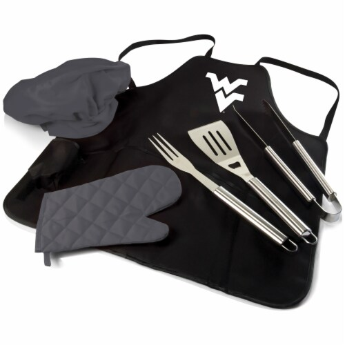 West Virginia Mountaineers - BBQ Apron Tote Pro Grill Set Perspective: front