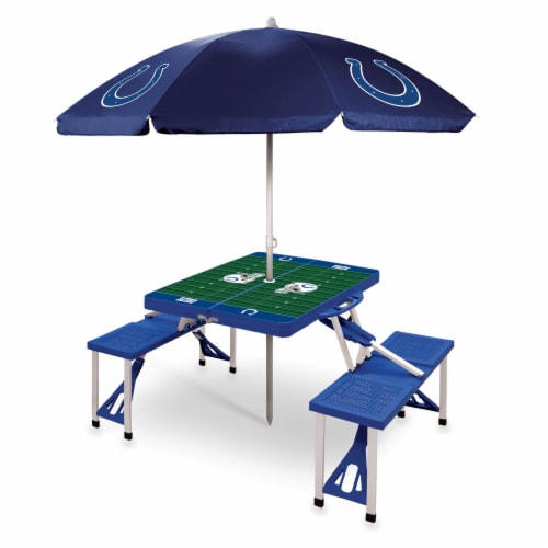 Indianapolis Colts - Picnic Table Folding Table with Seats and Umbrella Perspective: front