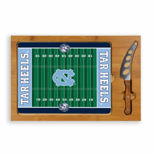 North Carolina Tar Heels - Icon Glass Top Cutting Board & Knife Set Perspective: front