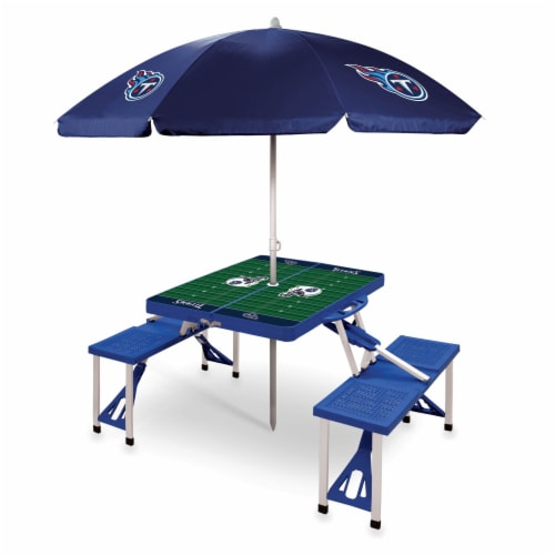Tennessee Titans - Picnic Table Folding Table with Seats and Umbrella Perspective: front