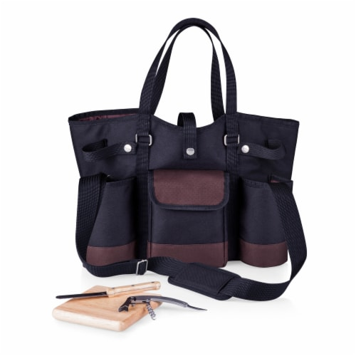 Wine Country Tote – Wine & Cheese Picnic Tote, Black with Burgundy Accents Perspective: front