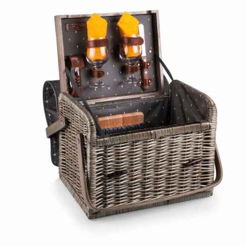 Kabrio Wine & Cheese Picnic Basket, Gray with Gold Accents Perspective: front