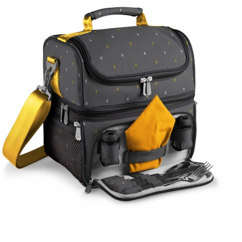 Pranzo Lunch Cooler Bag, Gray with Gold Accents Perspective: front