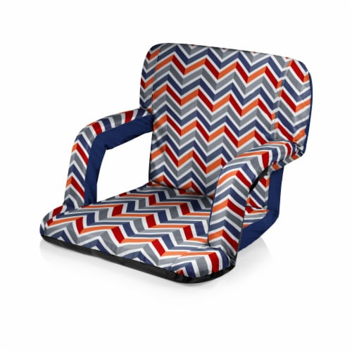 Ventura Portable Reclining Stadium Seat, Navy Blue, Orange, & Gray Pattern Perspective: front