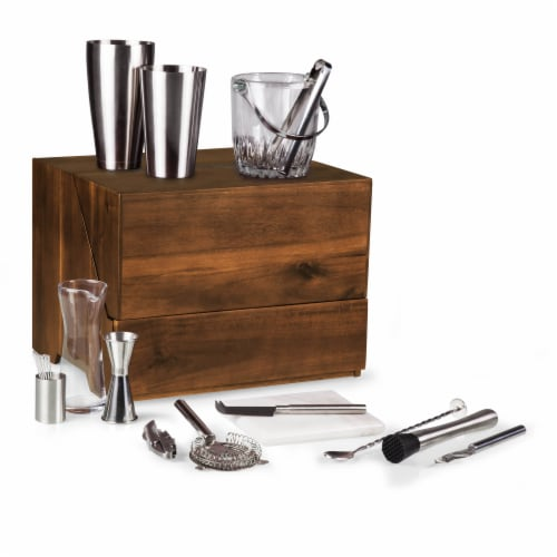 Madison Acacia Tabletop Bar Set, Acacia Wood Perspective: front
