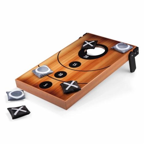 Mini Bean Bag Throw Game, Wood Grain Perspective: front