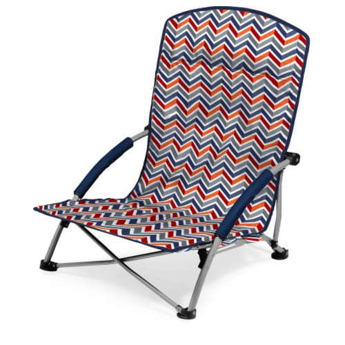 Tranquility Portable Beach Chair, Vibe Collection - Navy Blue, Orange, & Gray Pattern Perspective: front