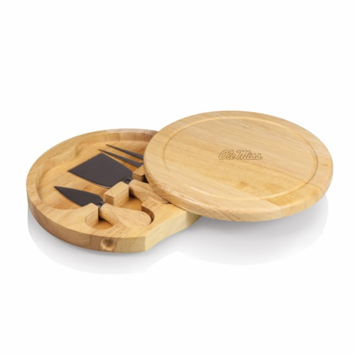 Ole Miss Rebels - Brie Cheese Cutting Board & Tools Set Perspective: front