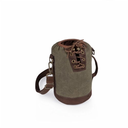 Insulated Growler Tote, Khaki Green with Brown Accents Perspective: front