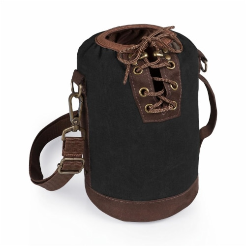 Insulated Growler Tote, Black with Brown Accents Perspective: front