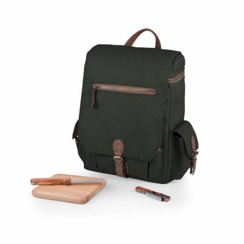 Moreno 3-Bottle Wine & Cheese Tote, Khaki Green Perspective: front