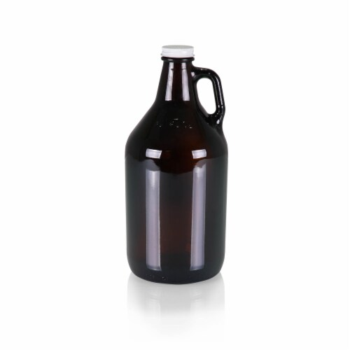 Glass 64 oz. Growler, Amber Perspective: front