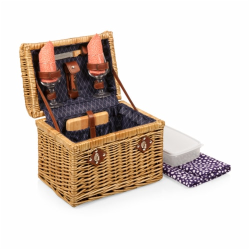 Napa Wine & Cheese Picnic Basket, Purple with Coral Pattern Perspective: front