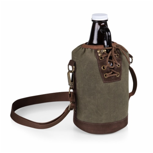 Insulated Growler Tote with 64 oz. Glass Growler, Khaki Green Perspective: front