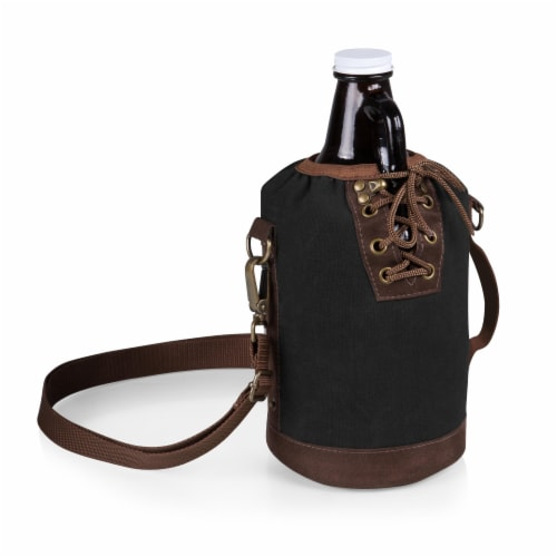 Insulated Growler Tote with 64 oz. Glass Growler, Black with Brown Accents & Glass Growler Perspective: front