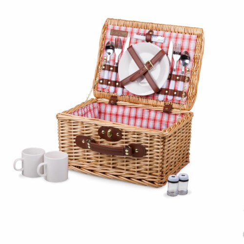 Catalina Picnic Basket, Red & White Plaid Pattern Perspective: front