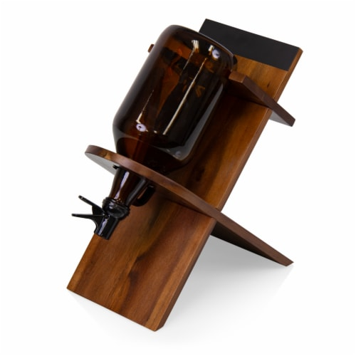 Growler Stand with 64oz Glass Growler, Acacia Wood Perspective: front