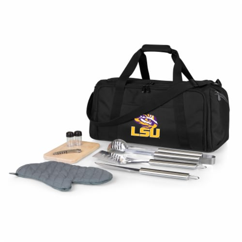 LSU Tigers - BBQ Kit Grill Set & Cooler Perspective: front