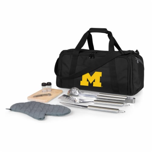Michigan Wolverines - BBQ Kit Grill Set & Cooler Perspective: front