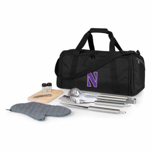 Northwestern Wildcats - BBQ Kit Grill Set & Cooler Perspective: front
