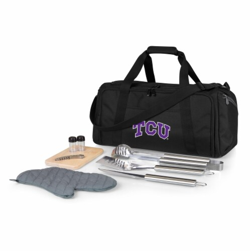 TCU Horned Frogs - BBQ Kit Grill Set & Cooler Perspective: front