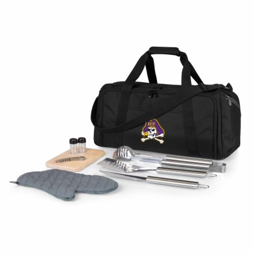 East Carolina Pirates - BBQ Kit Grill Set & Cooler Perspective: front