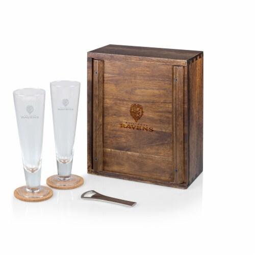 Baltimore Ravens - Pilsner Beer Glass Gift Set Perspective: front