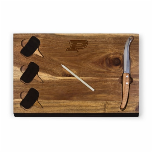 Purdue Boilermakers - Delio Acacia Cheese Cutting Board & Tools Set Perspective: front