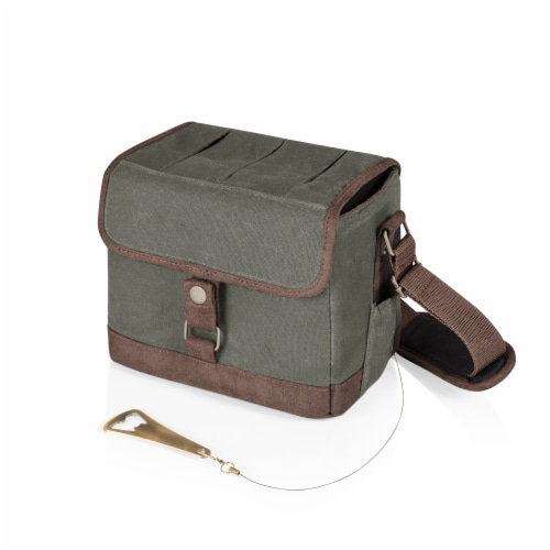 Legacy Beer Caddy Cooler Tote with Opener - Khaki Green/Brown Perspective: front