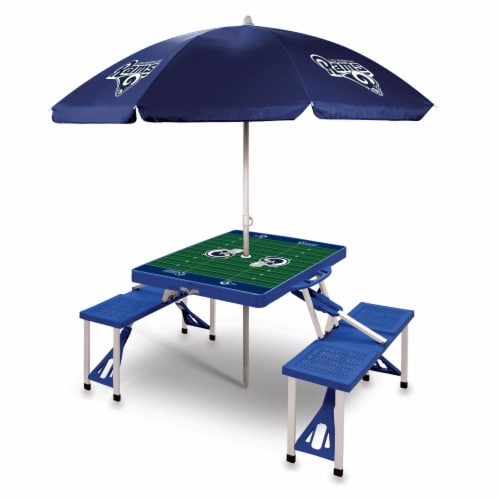 Los Angeles Rams - Picnic Table Folding Table with Seats and Umbrella Perspective: front