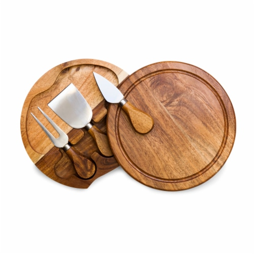 Acacia Brie Cheese Cutting Board & Tools Set, Acacia Wood Perspective: front
