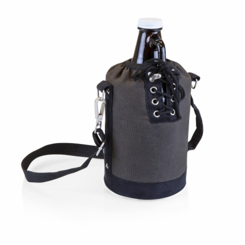 Insulated Growler Tote with 64 oz. Glass Growler, Gray with Black Accents & Glass Growler Perspective: front