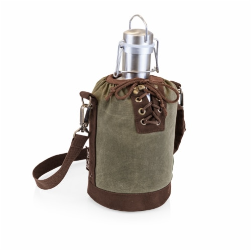 Insulated Growler Tote with 64 oz. Stainless Steel Growler, Khaki Green Perspective: front