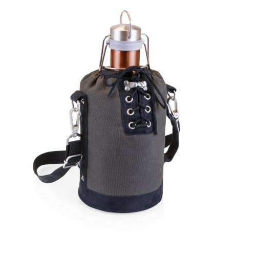 Insulated Growler Tote with 64 oz. Copper Stainless Steel Growler, Gray Perspective: front