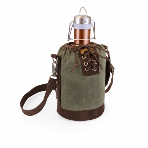Insulated Growler Tote with 64 oz. Cooper Stainless Steel Growler, Khaki Green Perspective: front