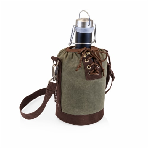 Insulated Growler Tote with 64 oz. Matte Black Stainless Steel Growler, Khaki Green Perspective: front