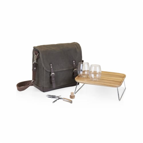 Adventure Wine Tote, Khaki Green with Brown Accents Perspective: front