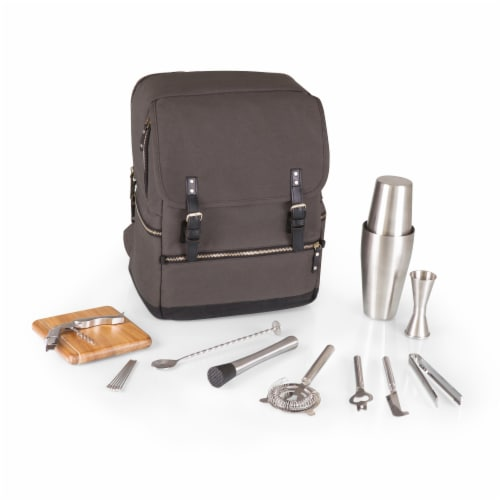 Bar-Backpack Portable Cocktail Set, Gray Perspective: front