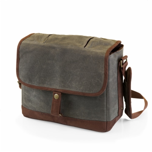 Insulated Double Growler Tote, Khaki Green with Brown Accents Perspective: front