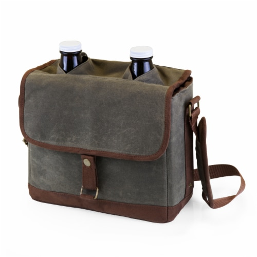 Insulated Double Growler Tote with 64 oz. Glass Growlers, Khaki Green with Brown Accents Perspective: front