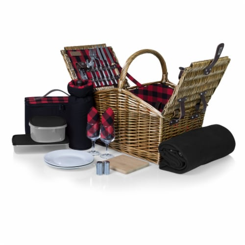 Somerset Picnic Basket, Red & Black Buffalo Plaid Pattern Perspective: front