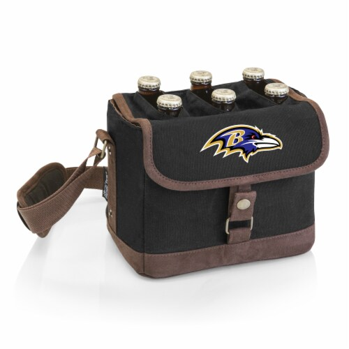 Baltimore Ravens - Beer Caddy Cooler Tote with Opener Perspective: front