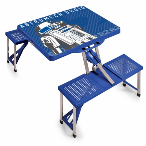 Star Wars R2-D2 - Picnic Table Portable Folding Table with Seats, Royal Blue Perspective: front